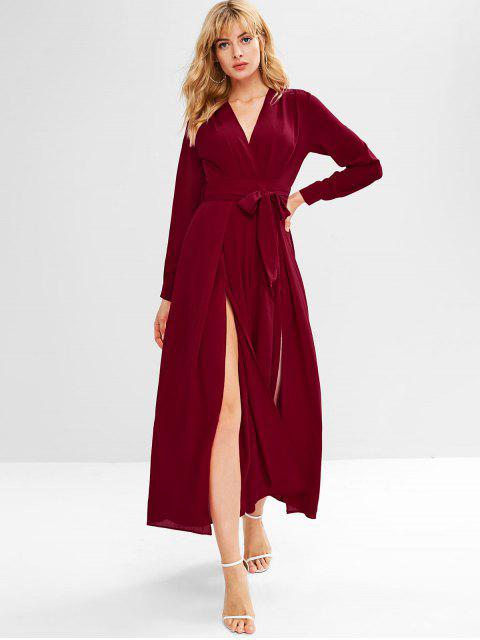 affordable Slit Plunging Wide Leg Jumpsuit - RED WINE S Mobile