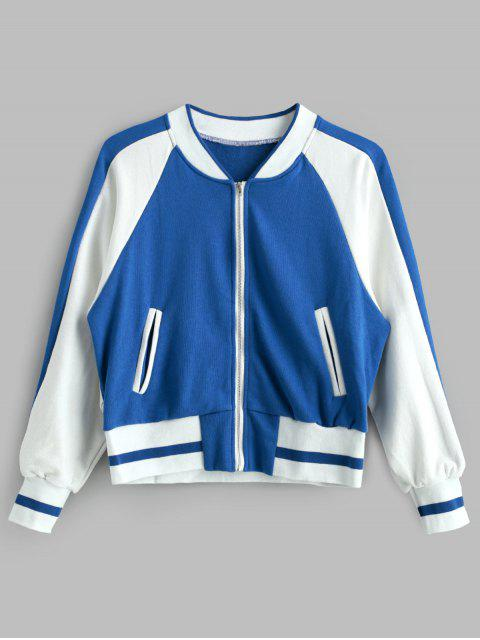 trendy Raglan Sleeve Baseball Jacket - MULTI ONE SIZE Mobile