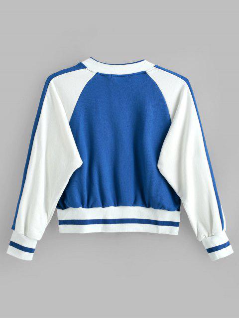 trendy Raglan Sleeve Baseball Jacket - MULTI ONE SIZE Mobile