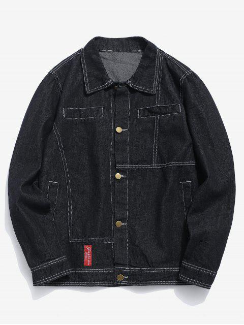 affordable Casual Sewing Washed Denim Jacket - BLACK S Mobile