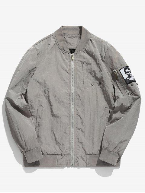 new Pockets Patch Waterproof Bomber Jacket - LIGHT GRAY M Mobile