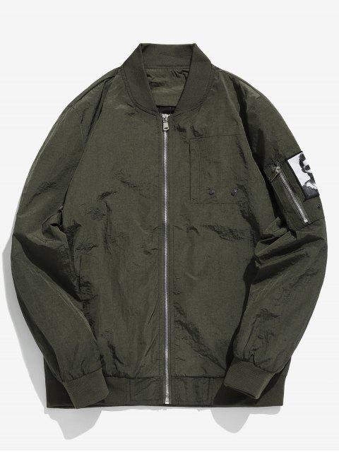 outfits Pockets Patch Waterproof Bomber Jacket - ARMY GREEN L Mobile