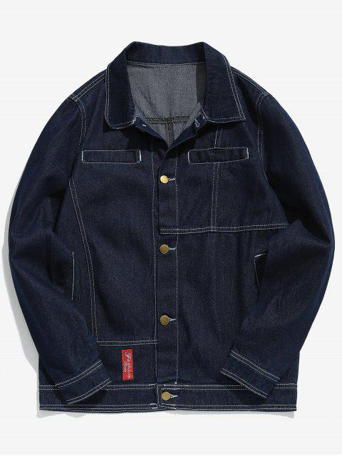 trendy Casual Sewing Washed Denim Jacket - BLUE M Mobile