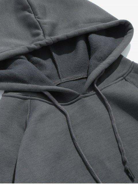 new Basic Solid Pouch Pocket Fleece Hoodie - DARK GRAY L Mobile