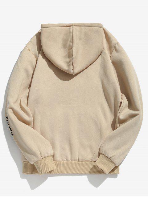 best Letter Pouch Pocket Fleece Hoodie - LIGHT KHAKI XS Mobile