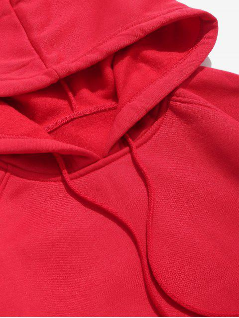 shop Basic Solid Pouch Pocket Fleece Hoodie - LAVA RED XL Mobile