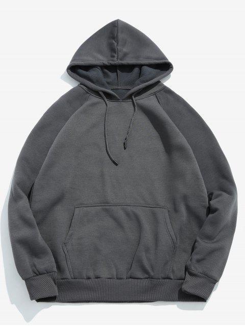 shops Basic Solid Pouch Pocket Fleece Hoodie - DARK GRAY M Mobile