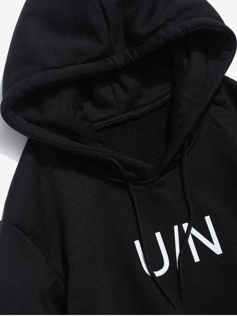 trendy Letter Pouch Pocket Fleece Hoodie - BLACK L Mobile