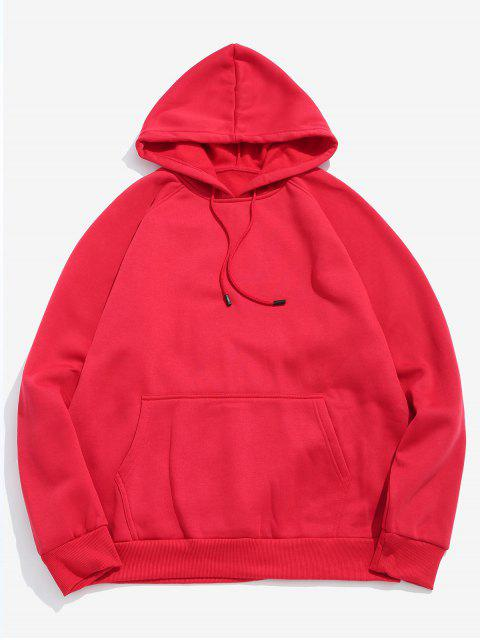 chic Basic Solid Pouch Pocket Fleece Hoodie - LAVA RED M Mobile