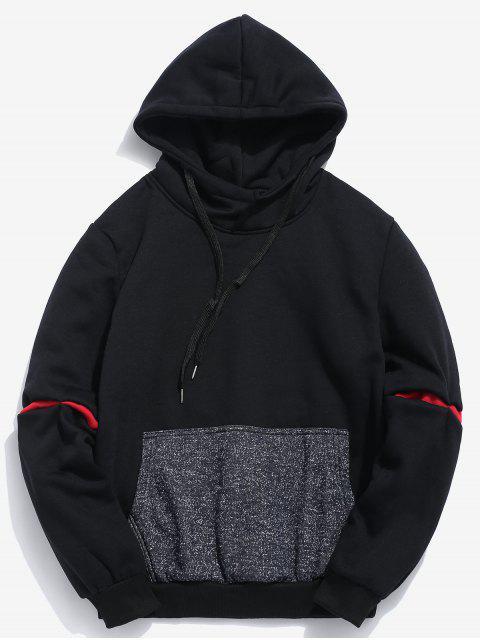 fancy Contrast Patchwork Pocket Fleece Hoodie - BLACK S Mobile