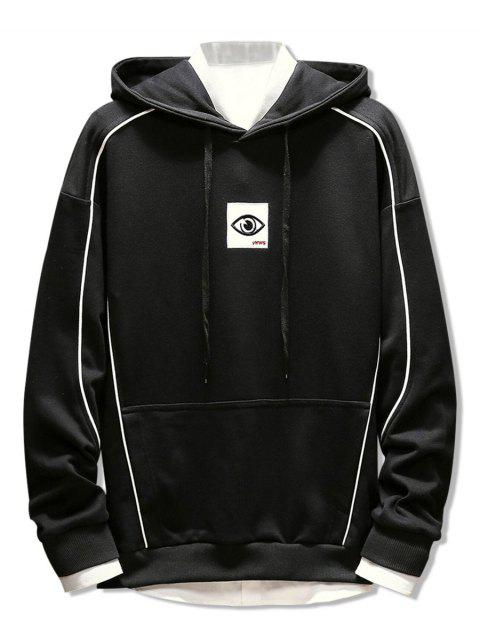best Patchwork Embroidery Applique Casual Pullover Hoodie - BLACK L Mobile