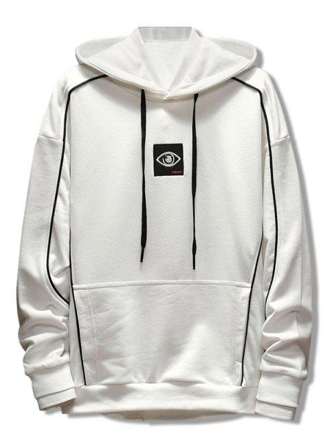 chic Patchwork Embroidery Applique Casual Pullover Hoodie - WHITE M Mobile