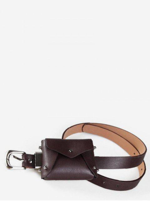 Bolso de cintura de color sólido mini remache - Café  Mobile