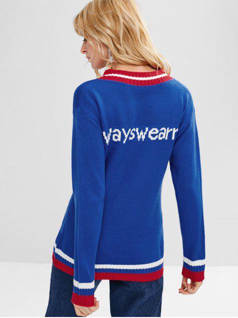 Grafik Streifen V Ausschnitt Pullover - Ozeanblau Eine Größe Mobile