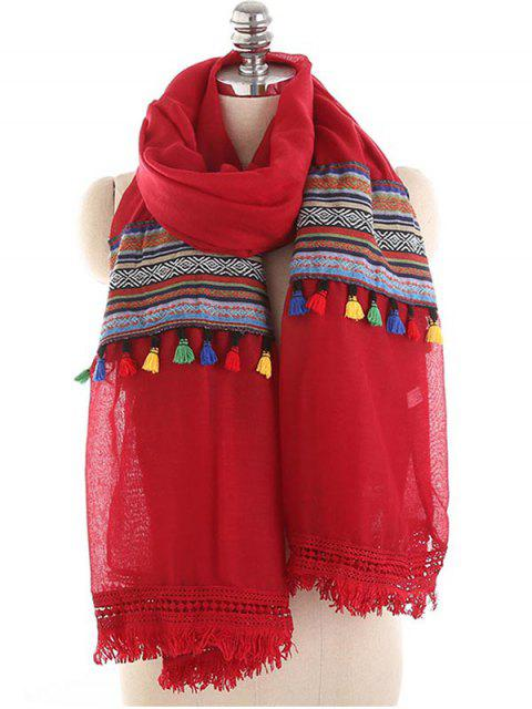 trendy Bohemian Fringed Spring Fall Scarf - BEAN RED  Mobile