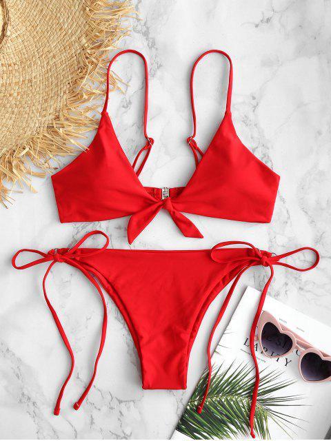 women's ZAFUL Knotted String Bikini Set - FIRE ENGINE RED M Mobile