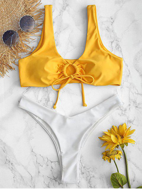 outfits ZAFUL Keyhole Color Block Bikini Set - RUBBER DUCKY YELLOW L Mobile