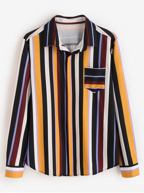 online ZAFUL Contrast Stripes Chest Pocket Shirt - MULTI S Mobile
