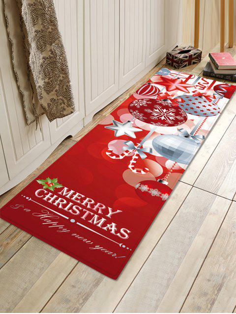 outfit Christmas Snowflake Pattern Non-slip Flannel Floor Mat - RED W24 X L71 INCH Mobile