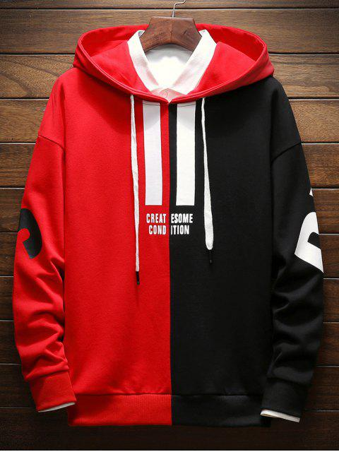 best Contrast Color Letter Pullover Hoodie - LAVA RED 2XL Mobile