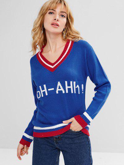 Graphic Stripes V Neck Sweater - Ocean Blue