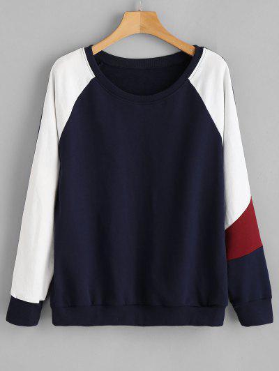 ZAFUL Color Block Raglan Sleeve Sweatshirt - Deep Blue