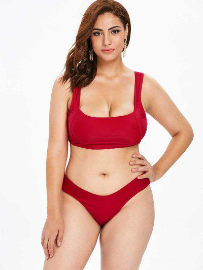 ca66cd1d65 ZAFUL Plus Size Square Neck High Leg Bikini Set - Lava Red 2x