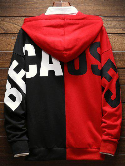 Contrast Color Letter Pullover Hoodie, Lava red