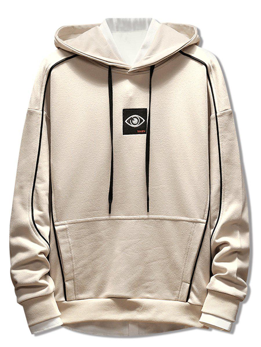 Patchwork Embroidery Applique Casual Pullover Hoodie