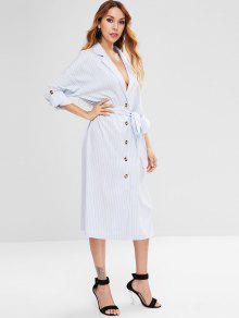 فستان بنمط قميص متوسط الطول من ZAFUL - ازرق فاتح Xl