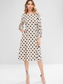 فستان منقط منقط - اللون البيج M