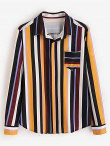 ZAFUL قميص بلون مغاير مخطط الصدر - متعدد Xl