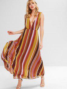 يغرق منخفض الظهر مخطط فستان طويل - متعدد L