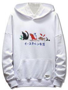 اليابانية الكرتون طباعة البلوز هوديي - أبيض 3xl