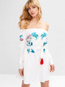 ZAFUL الأزهار الشرابة معطلة الكتف اللباس - أبيض S