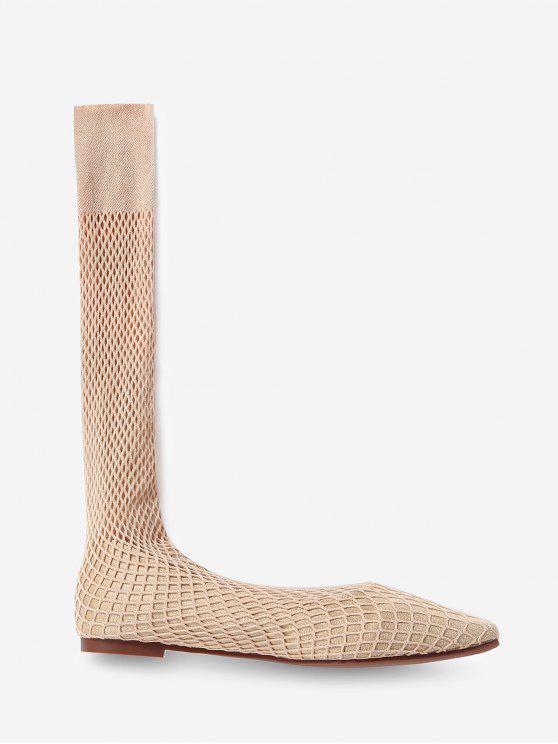 trendy Square Toe Sheer Mid Calf Flat Sock Boots - APRICOT EU 38