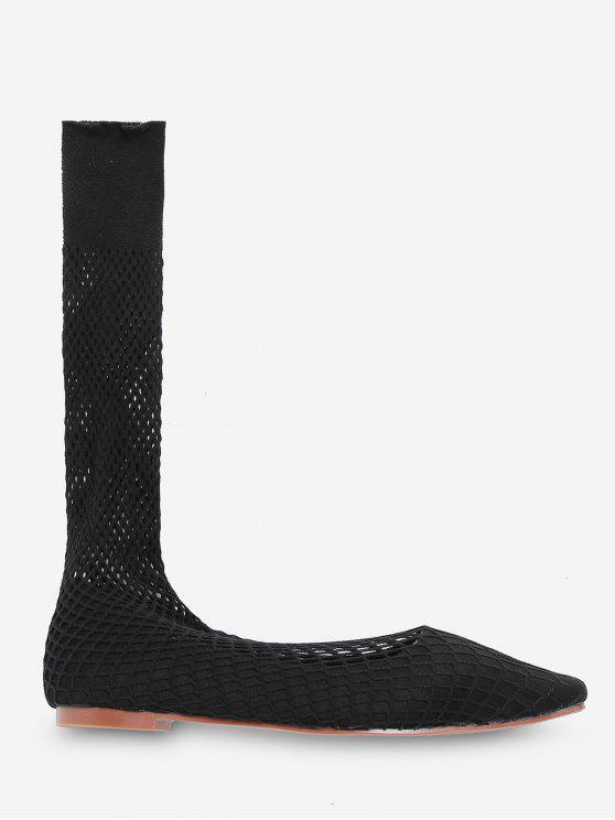 方頭鞋純粹中期小牛平襪靴 - 黑色 歐盟35