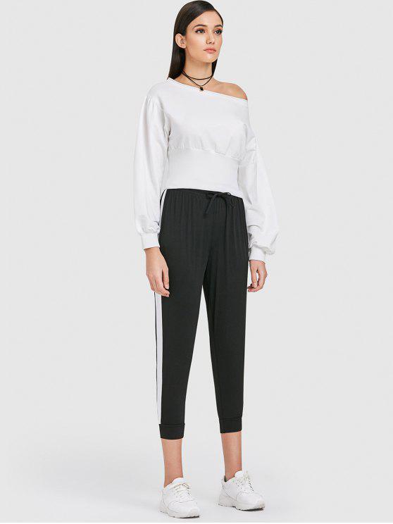 women ZAFUL Drop Shoulder Slash Neck Sweatshirt - MILK WHITE S