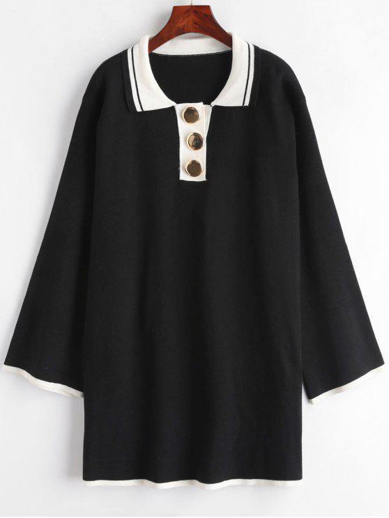 Lässiges, halb geknöpftes Sweater-Minikleid - Schwarz Eine Größe