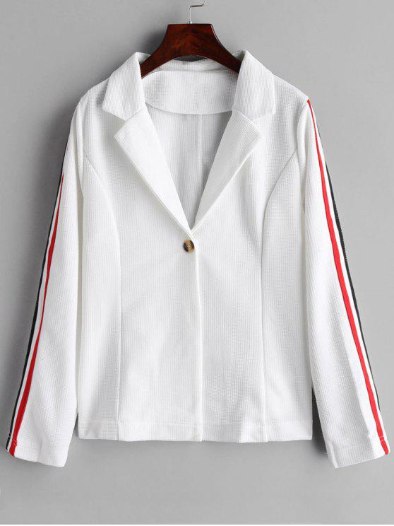 chic One Button Stripes Trim Blazer - WHITE M