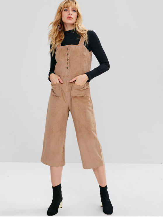 ladies Snap Button Corduroy Wide Leg Overalls - TAN M