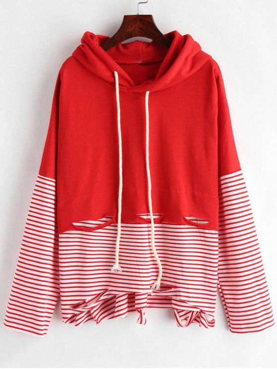 chic Cutout Stripes Panel Hoodie - LAVA RED ONE SIZE