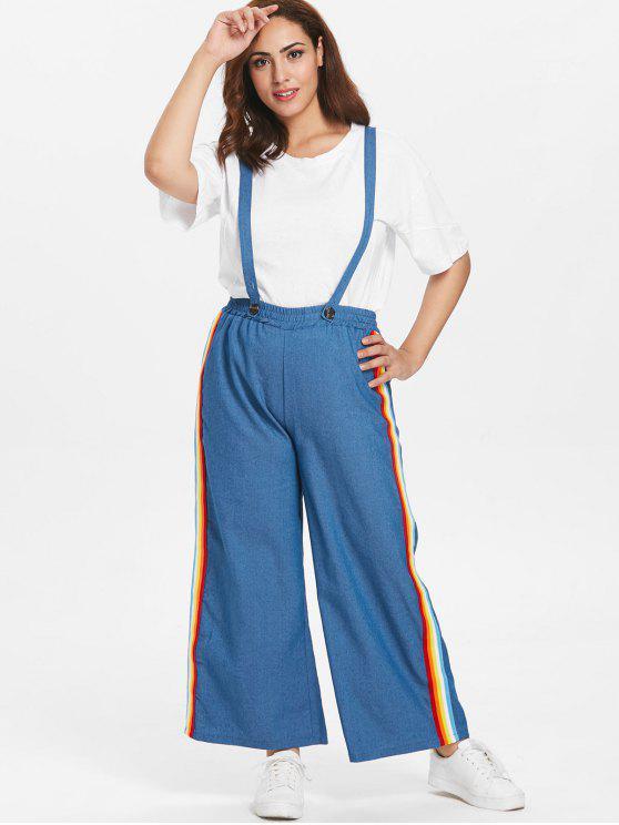 latest Plus Size Chambray Wide Leg Overall Pants - DENIM BLUE 3X