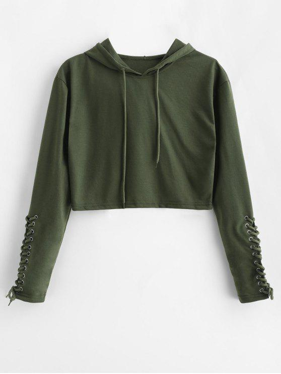 women's Lace Up Sleeve Cropped Pullover Hoodie - ARMY GREEN L
