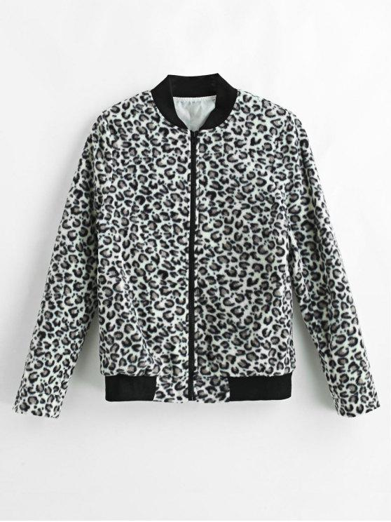 affordable Leopard Fleece Bomber Jacket - LEOPARD S