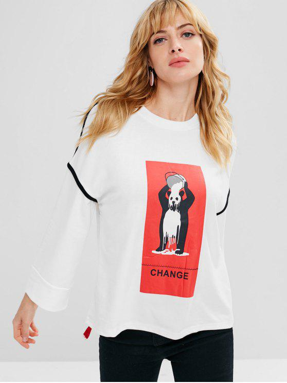 online Ribbon Cute Bear Graphic Sweatshirt - WHITE M