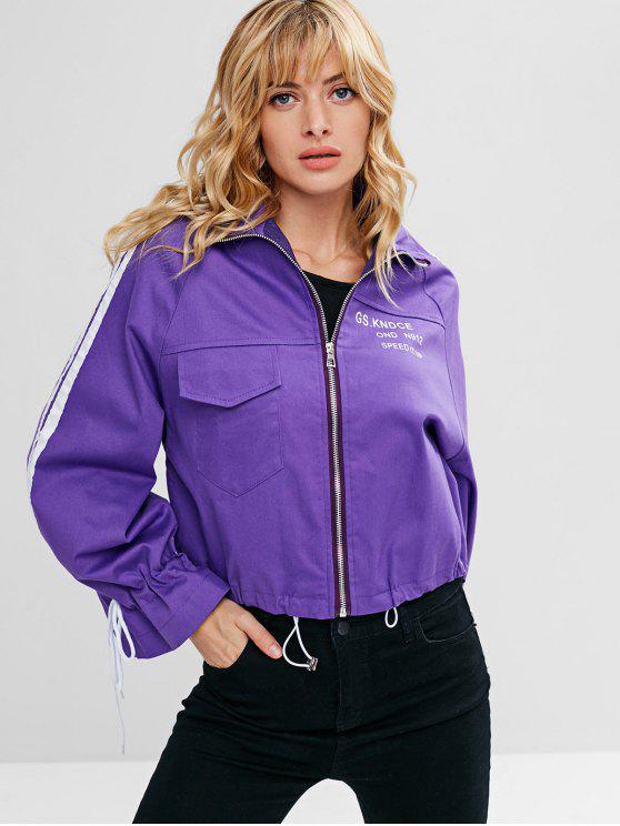sale Letter Print Front Pocket Embellished Zip Jacket - PURPLE ONE SIZE