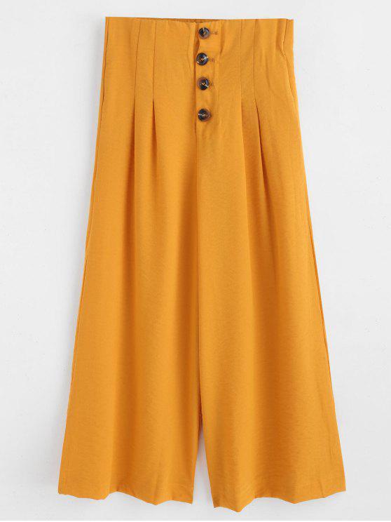 Pantalon Palazzo à Jambe Large avec Bouton Volant - Orange d'Or M