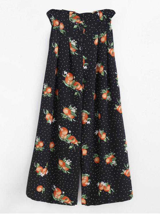 shops Wide Leg Fruit Print Palazzo Pants - BLACK L