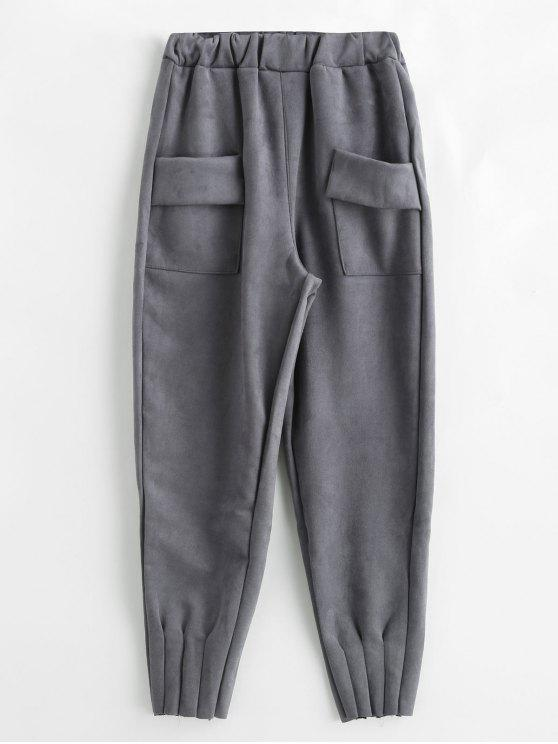women Solid Color Pants with Pockets - GRAY L